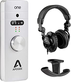 Apogee Electronics ONE 10 USB 2.0 Audio Interface with Polsen HPC-A30 Studio Monitor Headphones & Dual Headphone Hanger Mount Bundle