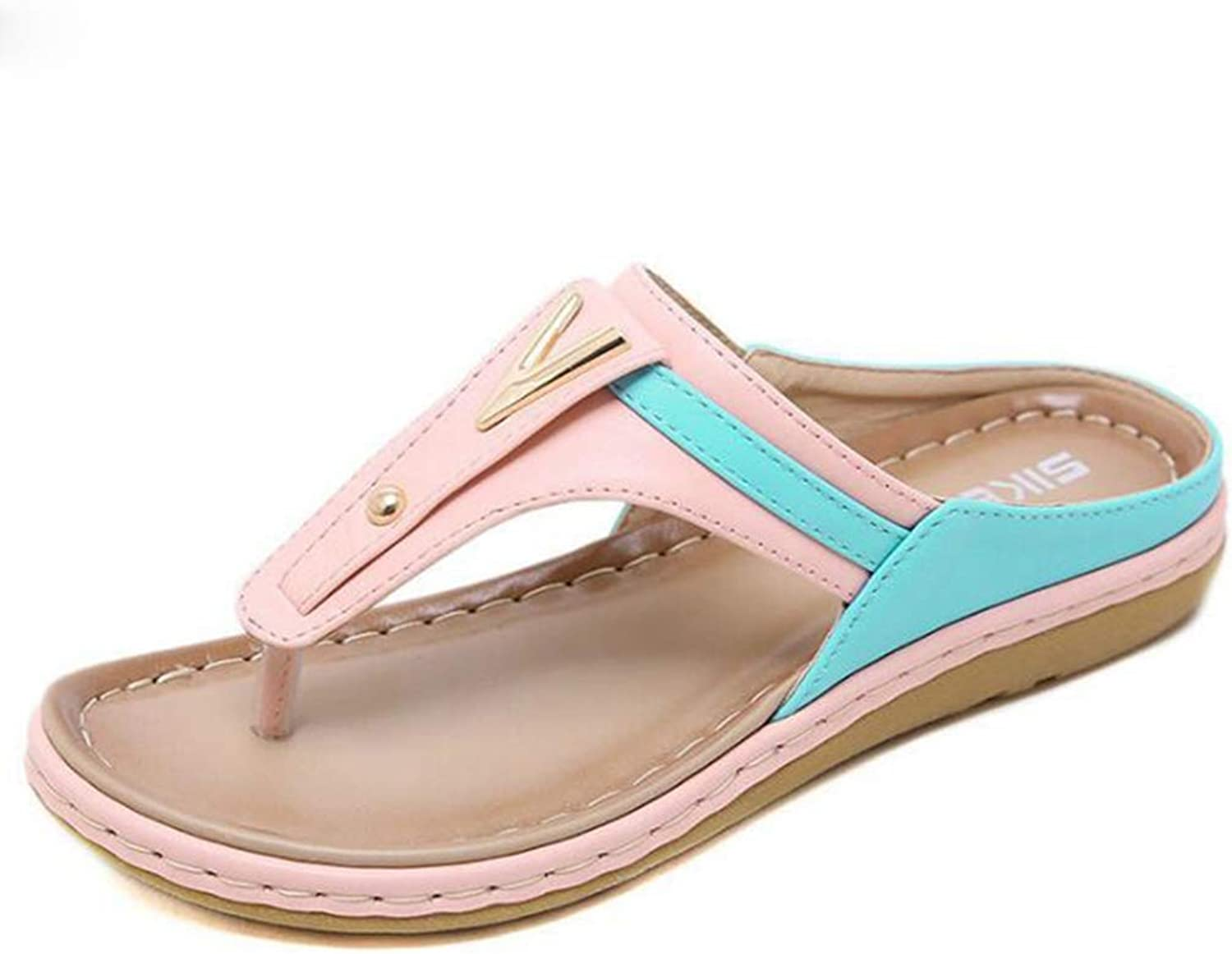 U-MAC Women Summer Flat Sandals Slingback Ankle Strap Sandals Clip Toe Beach Walking Flip Flops Bohemian Dress shoes