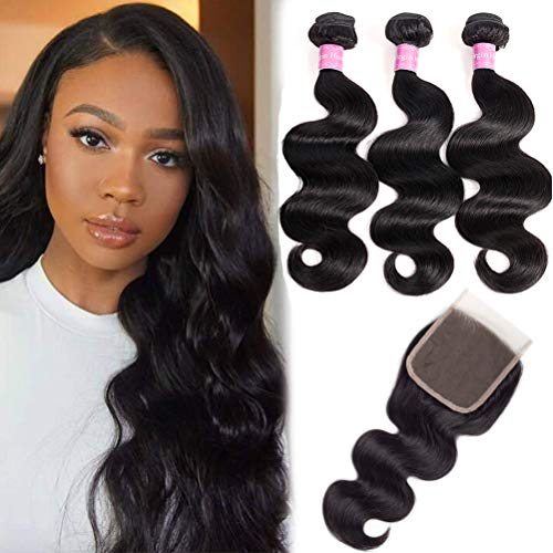 10A Brazilian Body Wave Virgin Hair 3 Bundles With Closure Free Part Unprocessed 100% Human Hair Bundles With Lace Closure (12 14 16+12Free part)