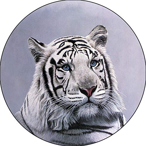 TIRE COVER CENTRAL White Tiger Head Blue Sapphire Eyes Spare Tire Cover (Select tire Size/Back up Camera Option in MENU) Custom Sized to Any Make/Model for 35X12.5X_