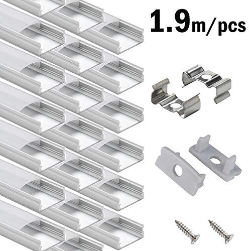 20 × 1.9M LED Schiene Aluprofil, StarlandLed 20-Pack LED-Aluminium Profil U-Form mit Abdeckung, Endkappen und Montageclips für LED-Streifen-Lichter …