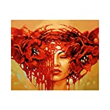 Paint by Numbers for Kids&Adults&Beginner Beauty Red Flower Headdress Canvas with Paintbrushes Color Acrylic DIY Drawing Premium Quality Paintwork 40x50cm