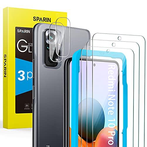 SPARIN(5 Stück)Schutzfolie Panzerglas Kompatibel mit Xiaomi Redmi Note 10 Pro 6,67 Zoll, 3 Bildschirmschutzfolie & 2 Kamera Folie, mit Positionierhilfe, 9H Festigkeitglas