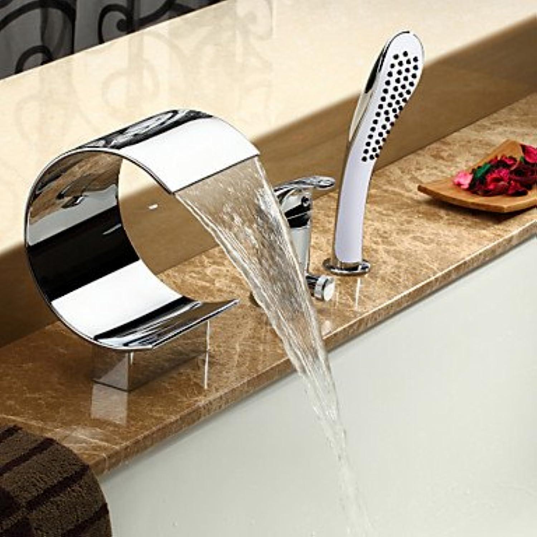 Lichtthebox Sprinkle Badwannenarmaturen - Moderne Chrom Wasserfall Verbreitete Drei Lcher