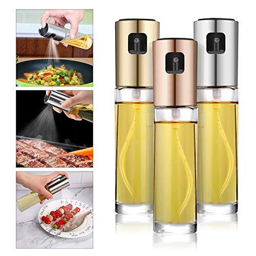 Olivenölsprüher, tragbar, 100 ml, ABS, vielseitig einsetzbar, Sprühglasflasche, Spender für Grill, Salat, Kochen, Backen, Rösten, Braten. rose gold