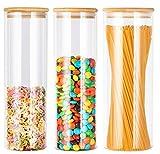 KAHEIGN 3 Piezas Tarros De Almacenamiento Con Tapas De Bambú Con Anillo De Silicona, 1500ml x 2 / 2100ml Vidrio Hermético Recipientes De Cereales Para Alimentos De Cocina