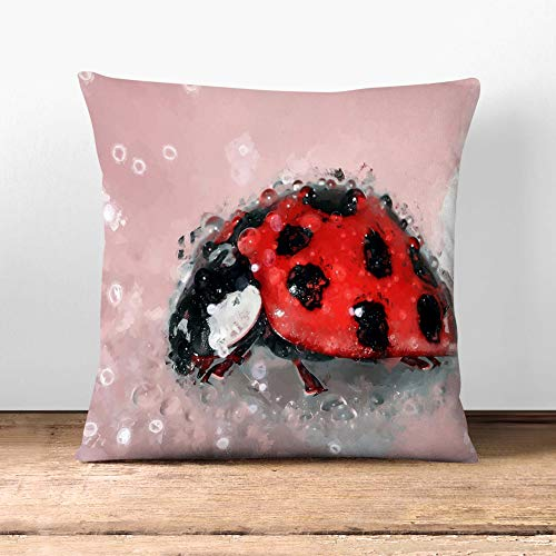 Big Box Art Cushion and Cover - Red Ladybird Insect on a Pink Petal in Abstract - Single Square Throw Pillow - Soft Faux Suede Material - Stone Rear - 60 x 60 cm