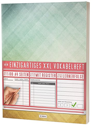 """Mein Einzigartiges XXL Vokabelheft: 100+ Seiten, 2 Spalten, Register / Lernerfolge auf jeder Seite zum Abhaken / PR101 \""""Dreiecke\"""" / DIN A4 Softcover"""