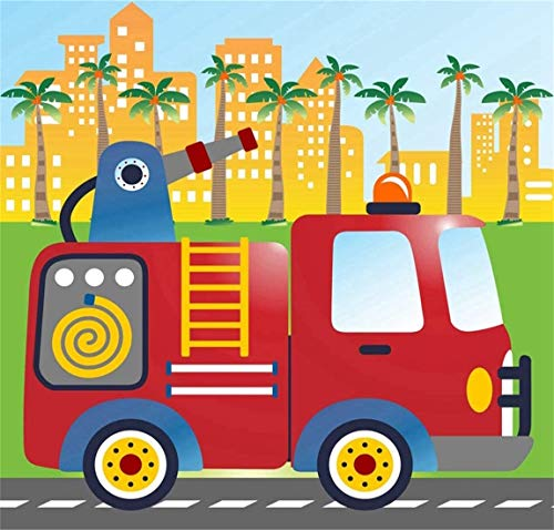 DIY 5D Diamond Painting Kits Red Fire Truck Stand The Main City Ready Full Drill Painting Arts Craft Canvas for Home Wall Decor Full Drill Cross Stitch Gift 12X16 Inch