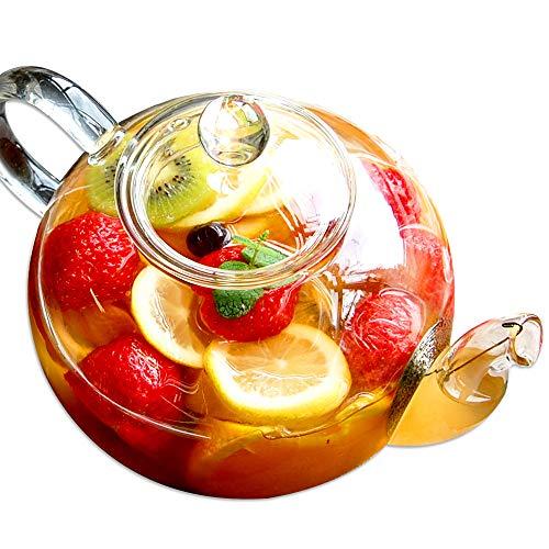 RIMTAE 耐熱ガラス ティーポット 大容量 特大サイズ 満水:約1500ml 茶こし付き 紅茶 電子レンジ対応 シンプル
