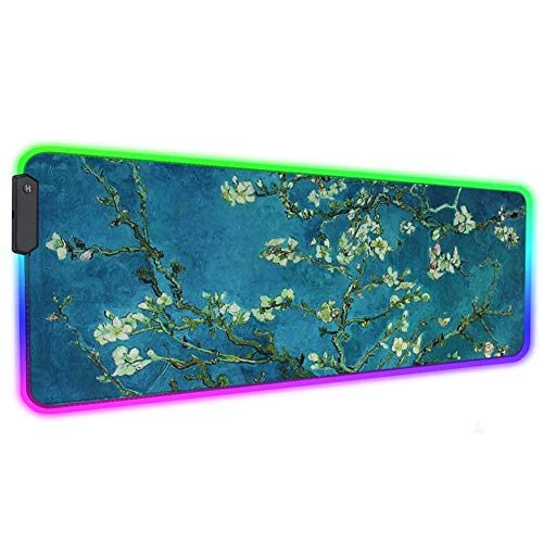 LIZIMANDU Gaming Mouse Pad,Extended Large Pattern Anti Slip Stitched Edges Long XXL Mousepad,Desk Pad Keyboard Mat, Non-Slip Base, Water-Resistant, for Office Home (1-RGB-Peach Blossom, 1 Pack)
