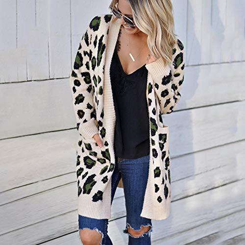 Cárdigan Mujer Manga Larga Chaqueta Otoño E Invierno Suéter Sub-Tejido para Mujer Moda Tricolor Suéter De Leopardo Suéter Cardigan Suéter Largo