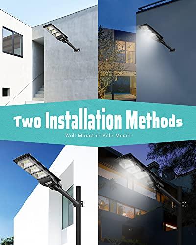 2 Pack Solar Street Light, 6000LM LED Solar Power Street Lamp Outdoor Dusk to Dawn for Parking Lot, Yard, Garage and Garden, LOVUS, ST60-039-2
