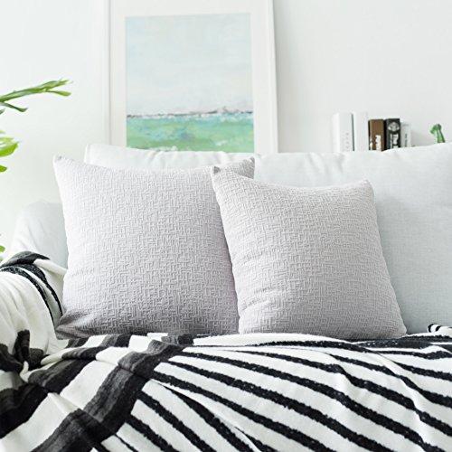 Kevin Textile Decor - Funda de cojín de terciopelo con cremallera oculta para sofá/cama, 50 x 50 cm, 2 unidades, color gris claro