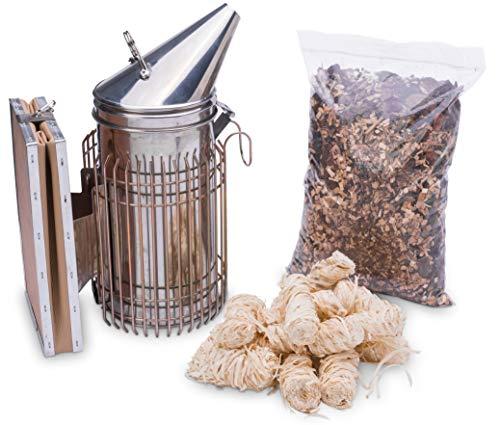 Imkado Imker Set M - Premium Edelstahl-Smoker, Rauchstoff, Anzünder - Ideal für Hobbyimker - Einsteiger-Zubehör aus dem Imkereibedarf