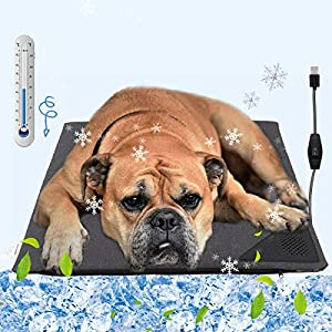 Pawaboo Cooling Bed Mat for Dogs, Cool Water Dog Bed Pad Blanket Pad Sleep Bed Mats for Dogs/Cats/Rabbits/Hamsters/Dragon Cats, Cooling Summer Sleeping Cushion to Keep Pets Cool & Comfortable, Gray