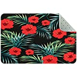 Yoliveya - Felpudo suave, diseño de flores tropicales rojas, absorbente, antideslizante, alfombra de goma para el hogar y la oficina de 24 x 16 pulgadas, Varios Colores, 90x60cm/35x24in