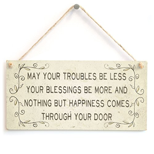 Meijiafei May Your Troubles be Less Your Blessings be More and Nothing But Happiness Comes Through Your Door - Lindo acessório de casa para presente 25,4 cm x 12,7 cm