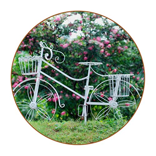 Bennigiry Basket Wheel Bike White with Flowers Leather Grass Round Mats Heat Resistant for Cups Coffee Cup Single Mats for Glass Cups, 6 Pieces