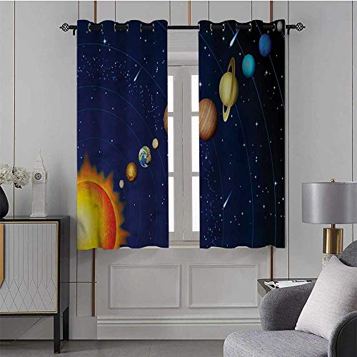 Youdeem-tablecloth Space, Ultra Soft Blackout Curtains Solar System with Sun Premium Room Divider, Set of 2 Panels (36 x 63 Inch)