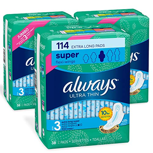 Always Ultra Thin Feminine Pads for Women, Size 3, Extra Long, Super Absorbency, with Wings, Unscented, 38 count- Pack of 3 (114 Count Total) (Package May Vary)
