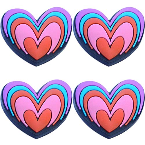 Four (4) of Multiple Heart Rubber Charms for Wristbands and Shoes