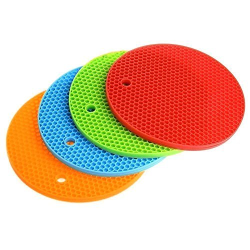 CalSunO Round Silicone Potholder 4 Set Mat Tableware with Heat Resistant Insulation Durable Placemat (4)