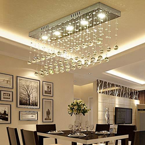 Sygjal Araña de Cristal de Cromo de Acero Inoxidable Rectangular LED Lámparas de Techo de Lujo de 3 Colores de luz Regulable decoración del hogar de Comedor Entrada de la Sala 80 * 20 * 33 cm