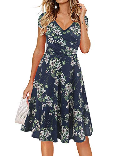 oxiuly Women's Criss-Cross V-Neck Cap Half Sleeve Floral Casual Work Party Tea Swing Dress OX233 (M, Blue Green F)