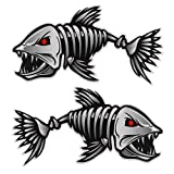 Homoyo - Juego de 2 pegatinas autoadhesivas para coche, barco, diseño de peces y esqueleto