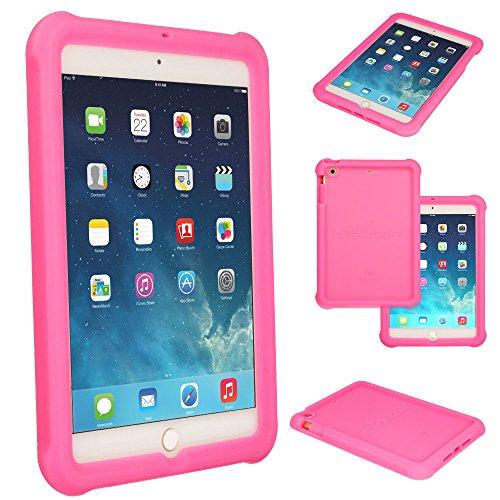TECHGEAR Schutzhülle für iPad Mini 1 2 3, [Kinderfreundlich] Leichtes Koffer Silikon Soft Shell Anti-Rutsch-Shockproof verstärkte Ecken + Displayschutzfolie. hülle für iPad Mini 3 2 1 - Rosa