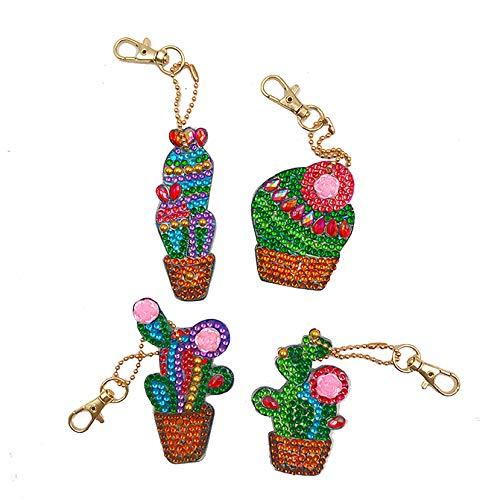 EIYUN 4 Pcs 5d Cactus Diamond Painting Keychain Kits,Mosaic Making by Numbers Key Chain for Bag Purse Phone Car Decoration
