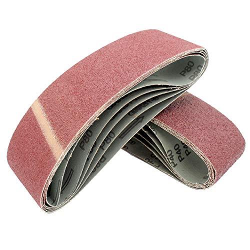 Cinturones de Lijado de Tela │ 10 piezas │ 75 x 533 mm │ grano 40 │ para para amoladoras de cinta │ Papel de Lija │ Juego de Correas de Lijado