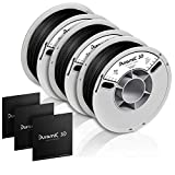 DURAMIC 3D Premium PLA Plus Printer Filament 1.75mm, 3D Printing Filament with Build Surface 200 x 200mm, Dimensional Accuracy +/- 0.05 mm, Black, 3 Spools (1kg/Spool)