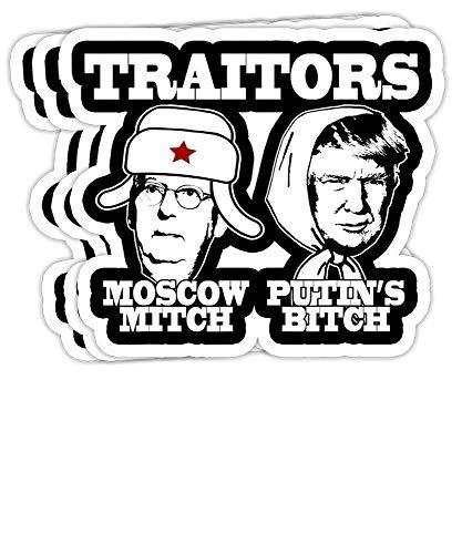 GrayFoxxy Traitors Moscow Mitch PUTIN'S Bitch Ditch Russia Trump Meme Gift Decorations - 4x3 Vinyl Stickers, Laptop Decal, Water Bottle Sticker (Set of 3)