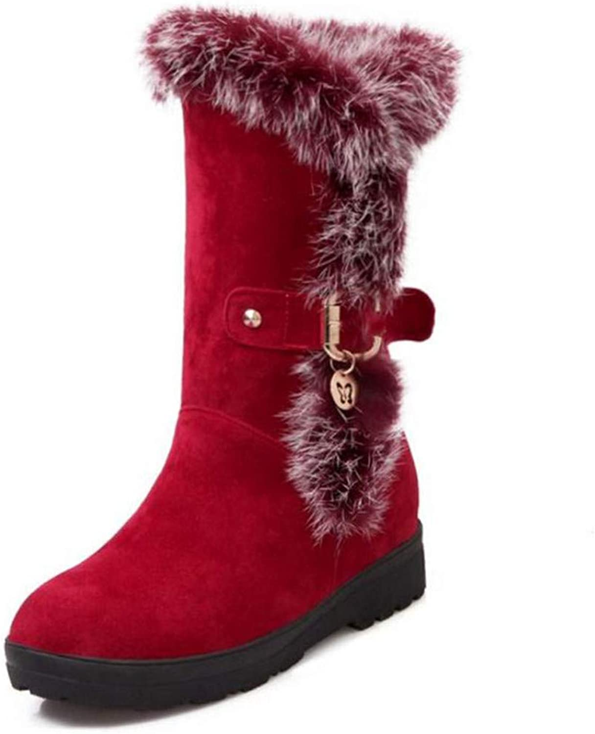 R-Anketsy Winter Snow Boots for Women Heel Half Short Winter Boots with Thick Fur Inside Mid