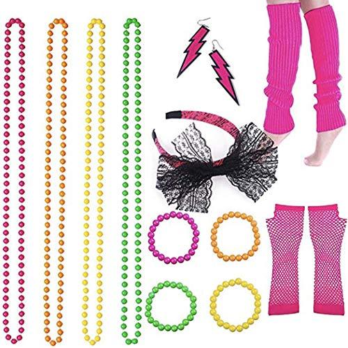 FunPa Vrouwen jaren 80 outfits accessoires neon nethandschoenen parel halsketting party armband party decoratie
