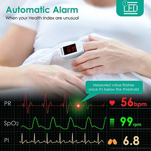 51dyaEqpG8L. SL500  - MeaMae Care Oxímetro de pulso Oxímetro de dedo para medir la saturación de oxígeno en la sangre frecuencia del pulso y PI pulsioximetro de dedo profesional con pantalla LED