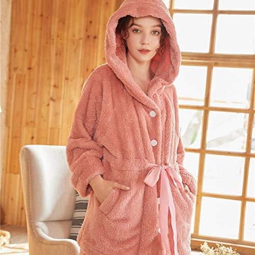 YRTHOR Conjuntos de Pijamas, Ropa de Dormir de Invierno para Mujeres, Trajes de Dormir de Franela de Talla Grande, camisón de 2 Piezas con Capucha, cálido,Red,XL