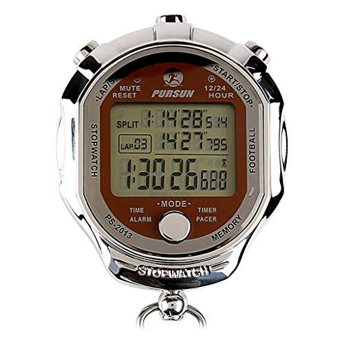 Operación precisa de una tecla, pantalla grande cl Metal Deportes Cronómetro Temporizador Temporizador Temporizador Modo de ritmo 12/24 horas Calendario de reloj con alarma Pantalla de tres líneas Tem
