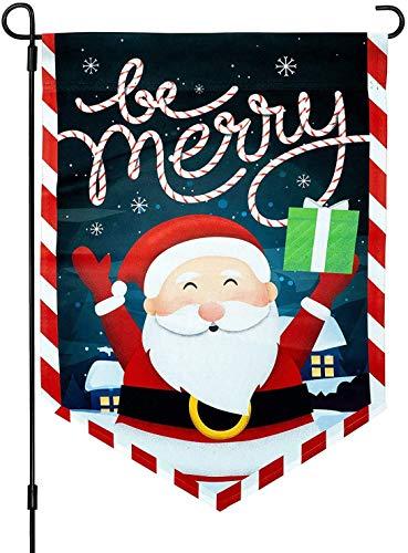 YINBANGKE - Bandera de jardín de Navidad, 30,5 x 45,7 cm, vertical de doble cara, bandera, Papá Noel, día festivo, interior y exterior, decoración de Navidad