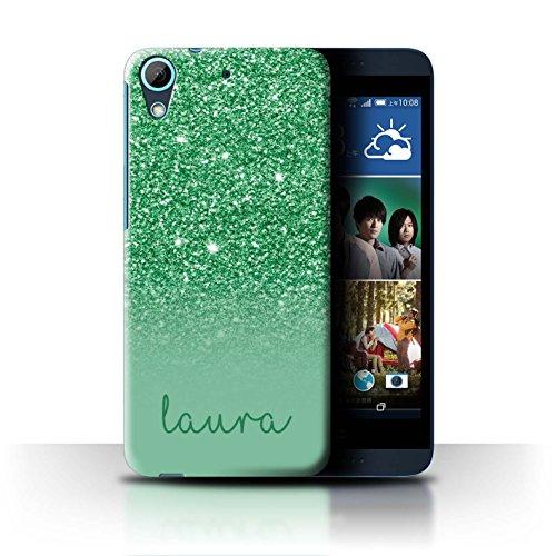 Personalisiert Hülle Für HTC Desire 626 Individuell Glitter Effekt Grün Design Transparent Ultra Dünn Klar Hart Schutz Handyhülle Case