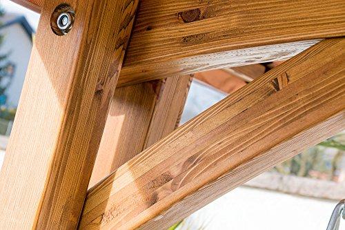 ASS Design Hollywoodschaukel Gartenschaukel Schaukelbank Rio aus Holz Lärche mit Dach und Polsterauflage braun - 8