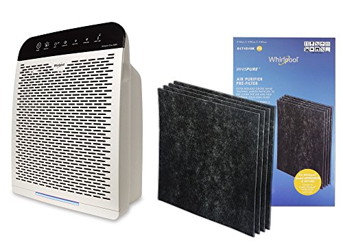 Whirlpool WPPRO 2000 & Genuine Activated Charcoal Filter Set - True HEPA Air Purifier - Odor Reducing Filter for Pets, Odor Remover for Smoke, Allergy - Doctor's Choice Air Cleaner, Large Room - White