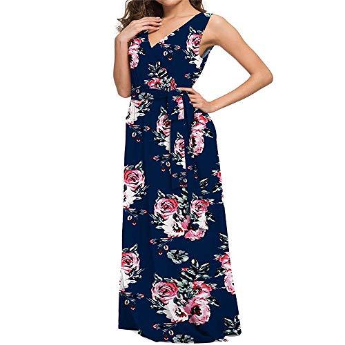 Vestido de Chaleco Estampado de Verano Mangas Falda Larga Vestido Femenino