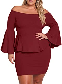 Womens Plus Size Peplum Dresses Off The Shoulder Short Sleeve Bell Sleeve Ruched Bodycon Sexy Mini Party Dress
