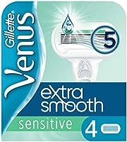 Gillette Venus Deluxe Smooth Sensitive Rakbladsrefiller För Kvinnor, Förpackning med 4, 5 blad för en slät rakning som...