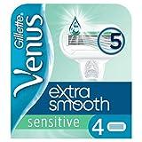 Gillette Venus Extra Smooth Sensitive Lamette per rasoio Da Donna - 4 Ricariche Con 5 Lame Rivestite In DLC