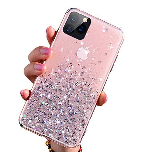 Cover iPhone 12/12 Pro, Custodia con Glitter Bling per Apple iPhone 12/12 Pro da 6.1 Pollici Ultra Sottile Cassa Morbido TPU Silicone Case AntiGraffio (Rosa, 12/12 Pro)