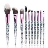 Hermosa Nuevo cristal 10 pincel de maquillaje manija de la PU de cristal bolsa de lentejuelas de seda arena sistema de cepillo del maquillaje Para mujeres (Color : A)